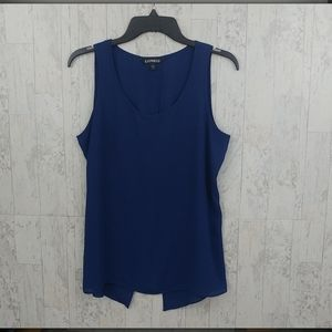 Express Blue Sheer Split Back Tank Top. F14